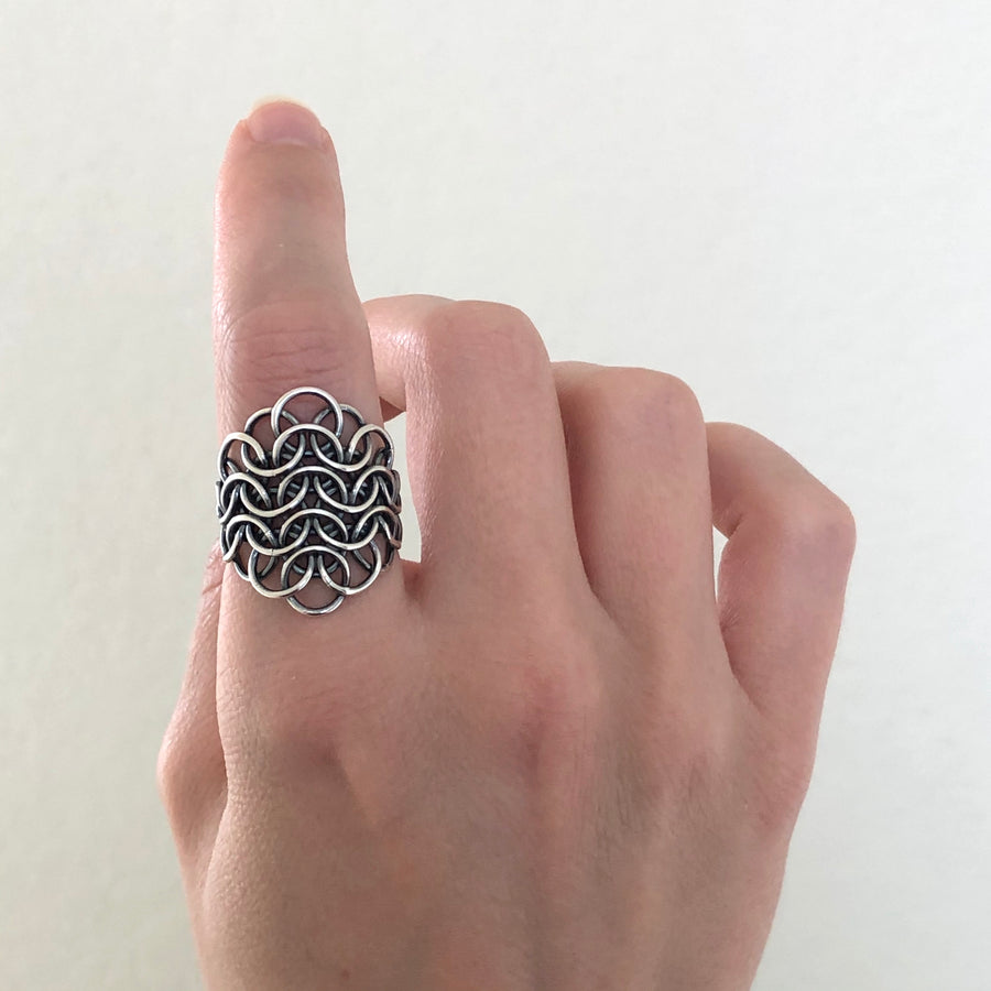 Fused Armorer's Chainmaille Statement Ring - Femailler