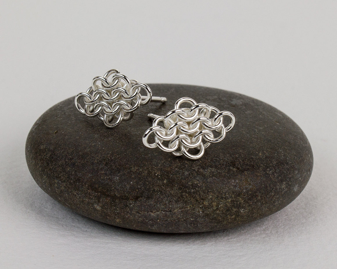 Rhombus Fused Chainmaille Post Earrings