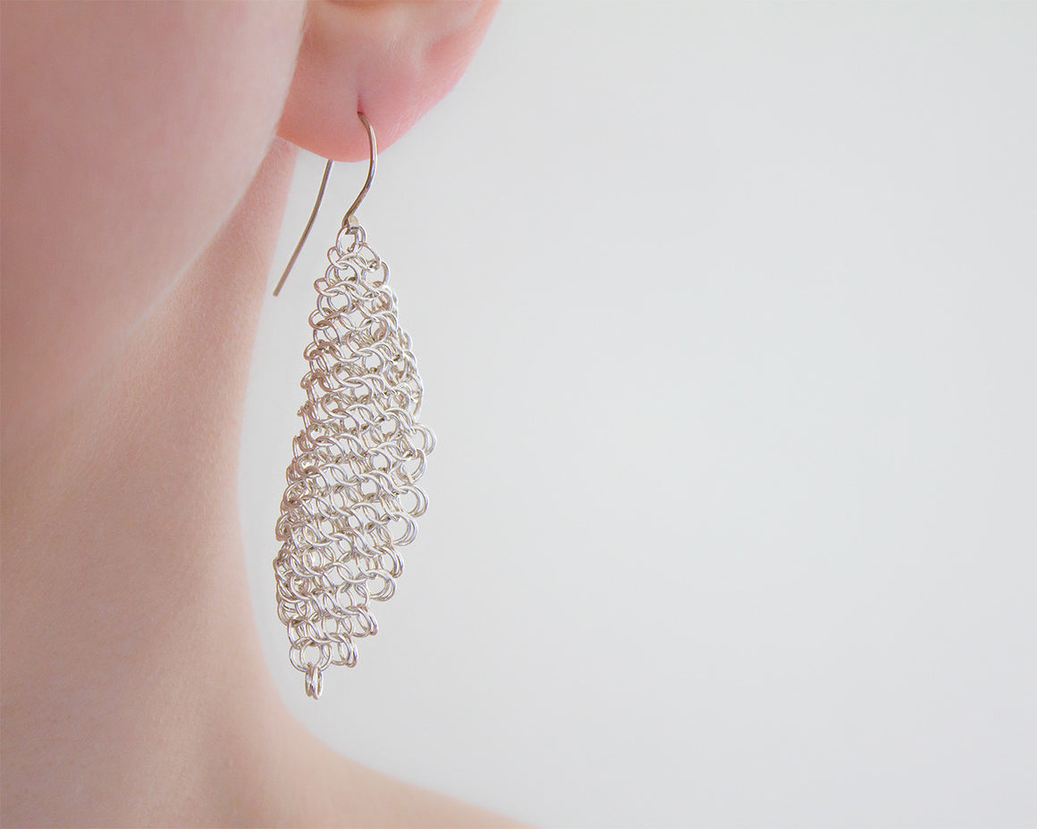 Long Chainmaille Feather Drop Earrings