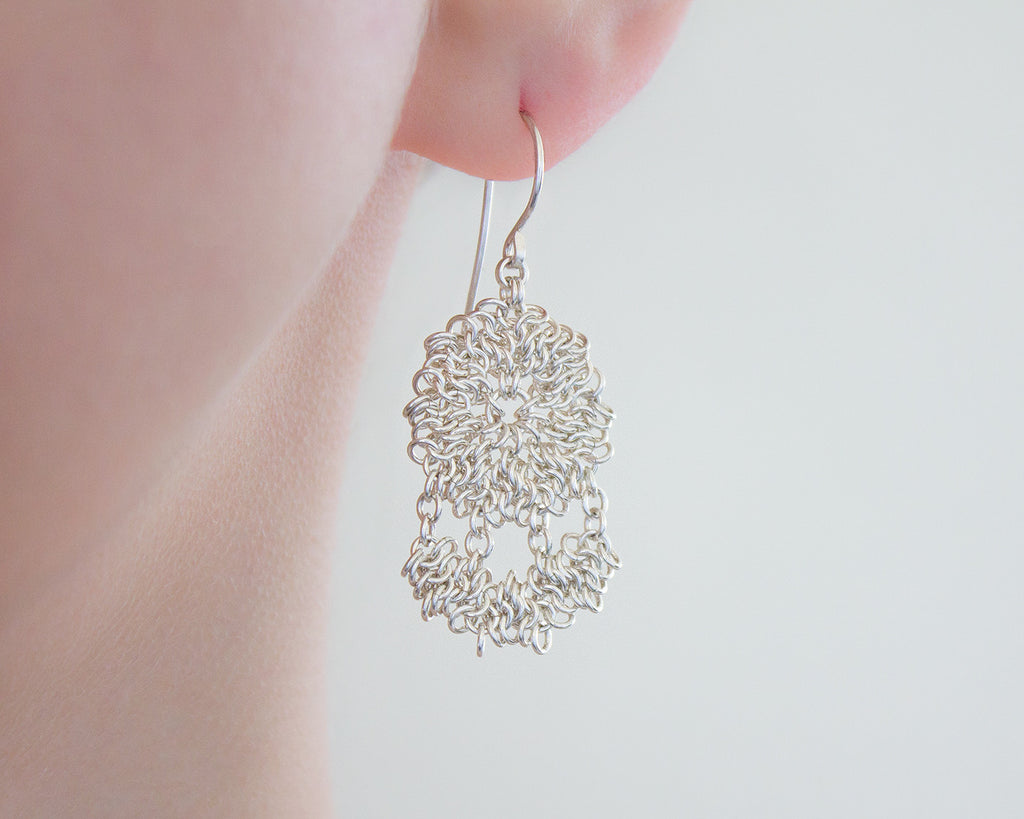 Lace Chainmaille Chandelier Drop Earrings