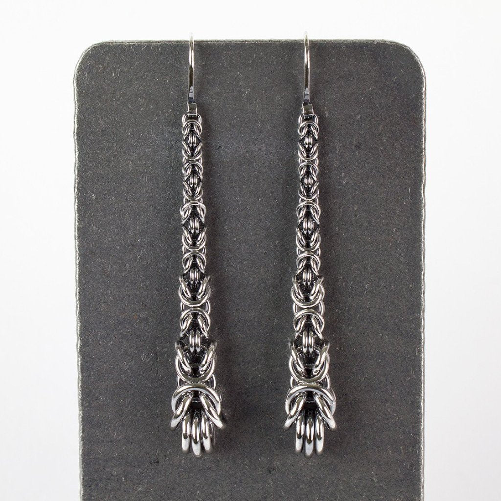 Byzantine Chainmaille Long Drop Earrings