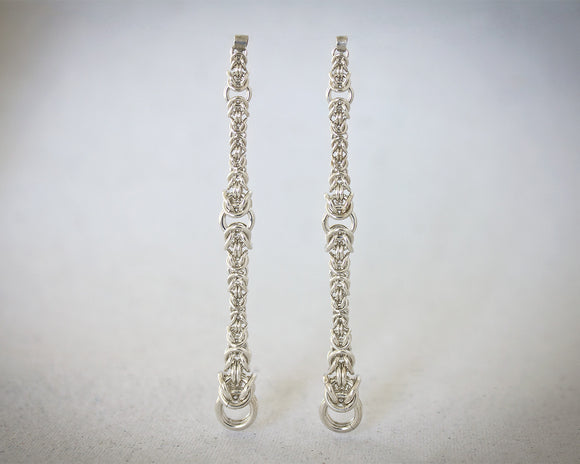 Long Byzantine Chainmaille Post Drop Earrings