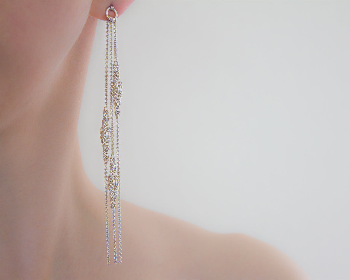 Long Elegant Byzantine Chainmaille Post Earrings