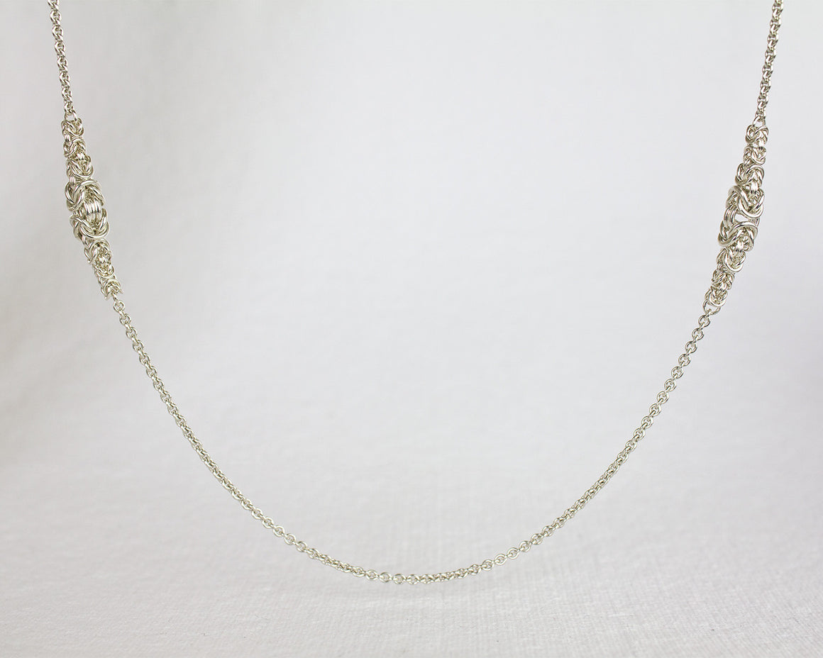 Long Elegant Byzantine Chainmaille Station Necklace