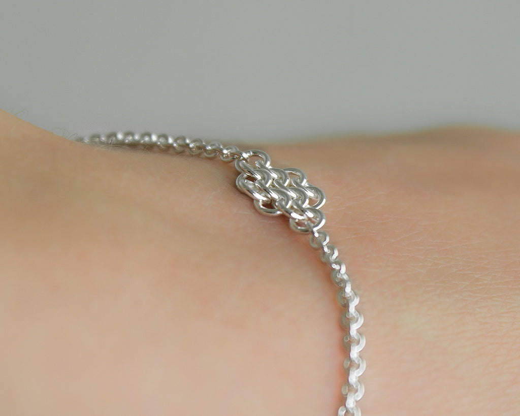 Rhombus Fused Chainmaille Station Bracelet