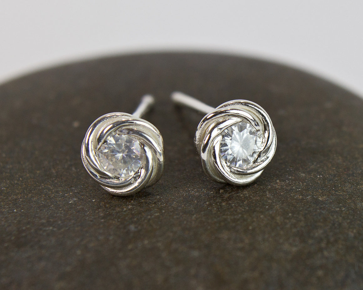 Moissanite Nest Fused Chainmaille Post Earrings