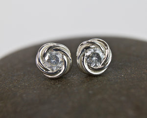 Moissanite Nest Fused Chainmaille Post Earrings - Femailler