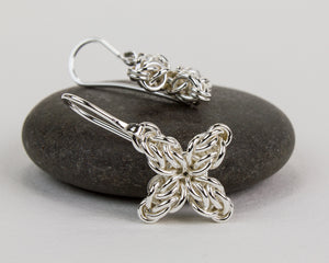 Star Flower Fused Chainmaille Drop Earrings - Femailler