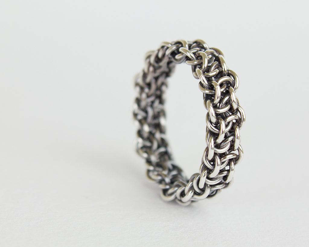 Thick Fused Bramble Chainmaille Band Ring