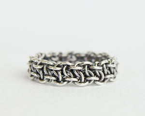 Thick Fused Bramble Chainmaille Band Ring - Femailler