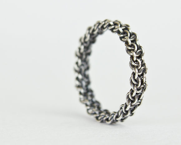 Thin Fused Bramble Chainmaille Band Ring - Femailler