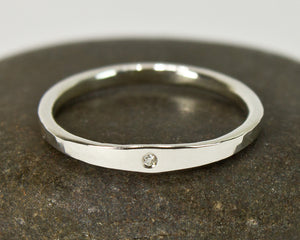 Thin Forged Minimalist Moissanite Engagement Ring - Femailler