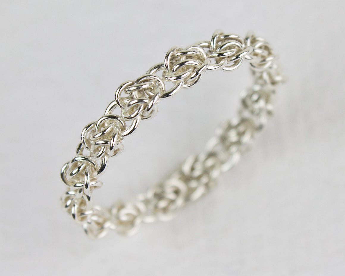 Fused Rose Chainmaille Band Ring
