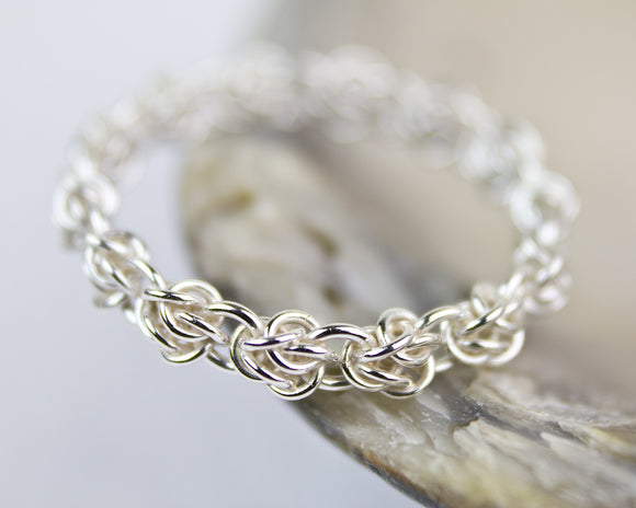 Fused Rose Chainmaille Band Ring - Femailler