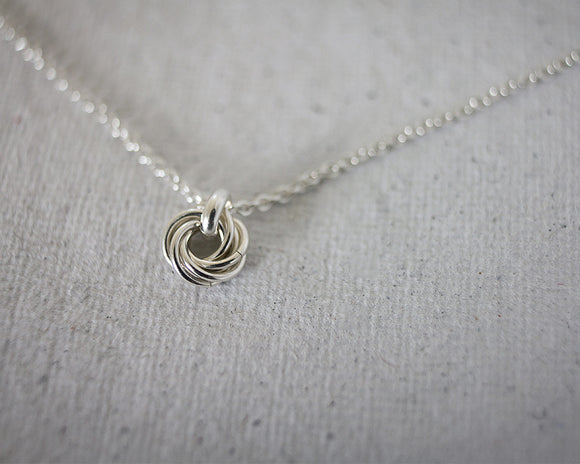 Tiny Mother's Nest of Six Chainmaille Pendant Necklace
