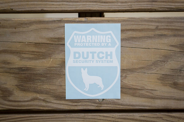 Dutch Shepherd Security Sticker (2 pack)