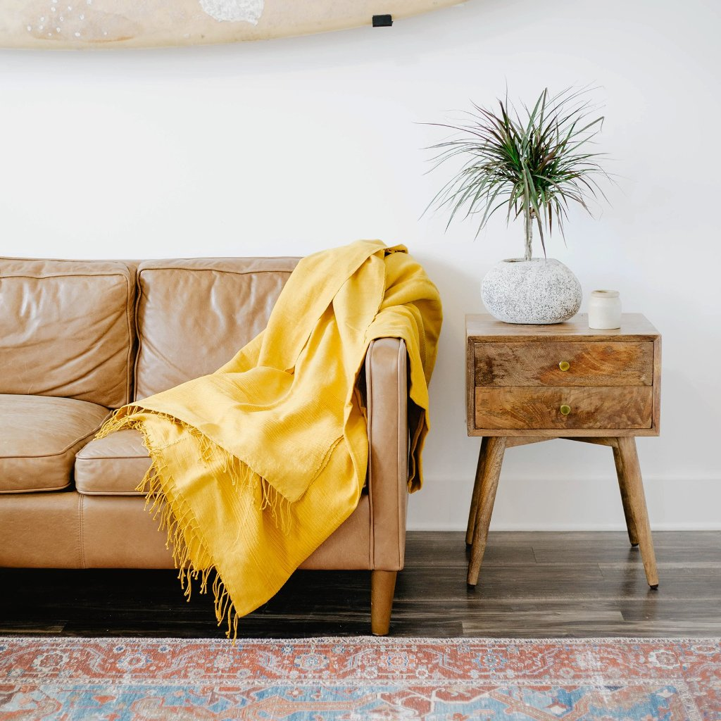 Handmade Gold Cotton Blanket - Upper Earth