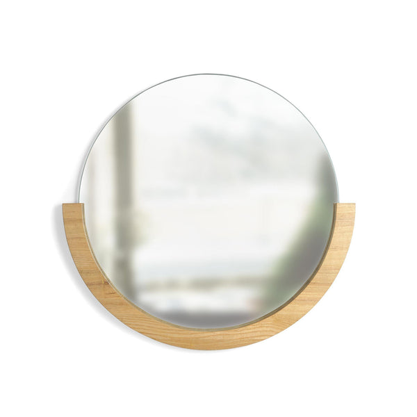 Round Mirror with Semi-Circle Wood Frame