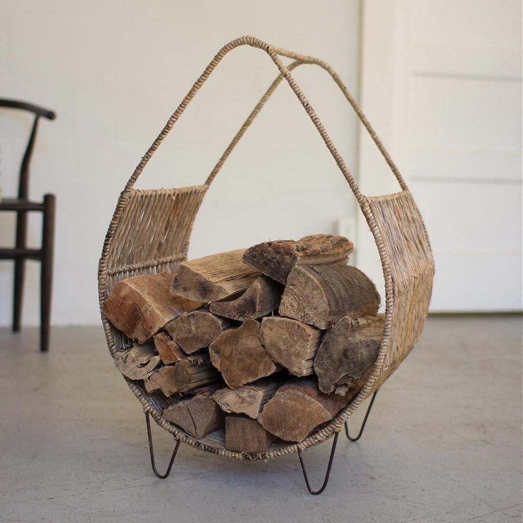 Woven Rush & Metal Firewood Rack with Tall Handle - Upper Earth