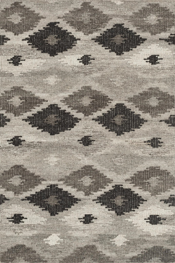 Charcoal & Grey Wool Area Rug - Akina - Upper Earth