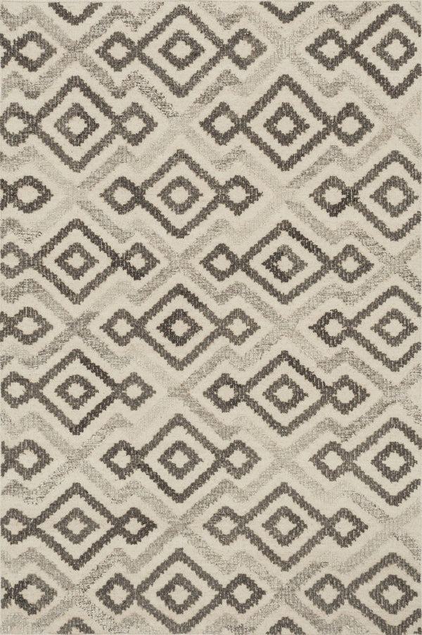 Ivory & Grey Handwoven Wool Area Rug - Akina - Upper Earth