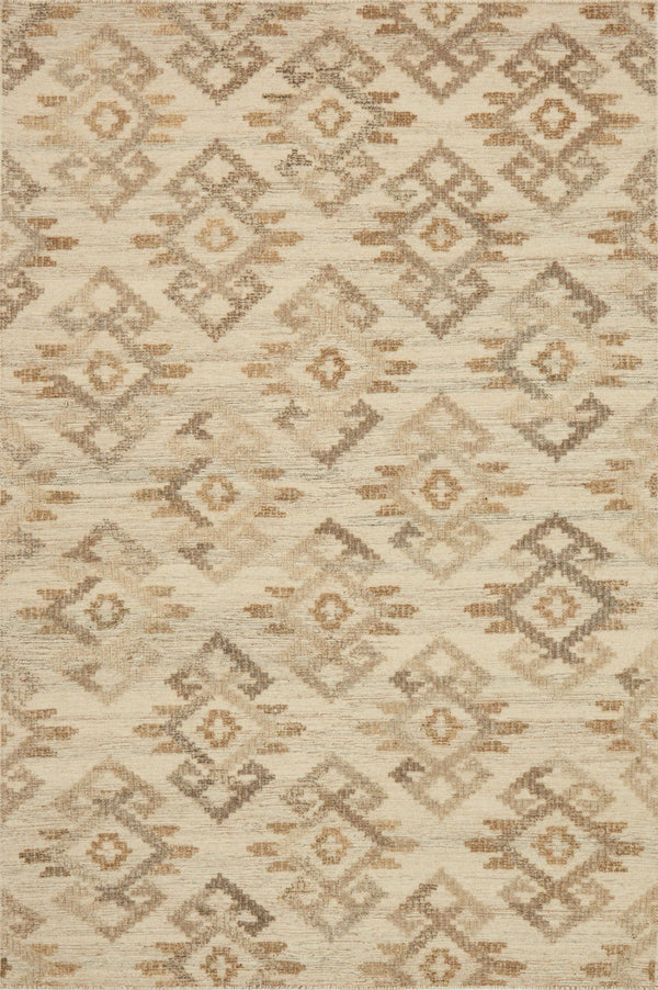 Beige & Ivory Handwoven Wool Area Rug  - Akina - Upper Earth