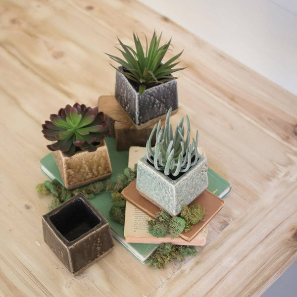 Set of 4 Square Ceramic Planters - Upper Earth