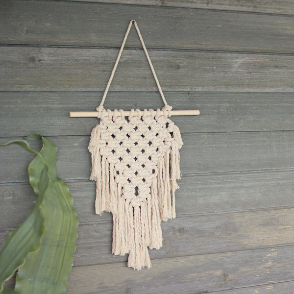 Small White Boho Wall Hanging