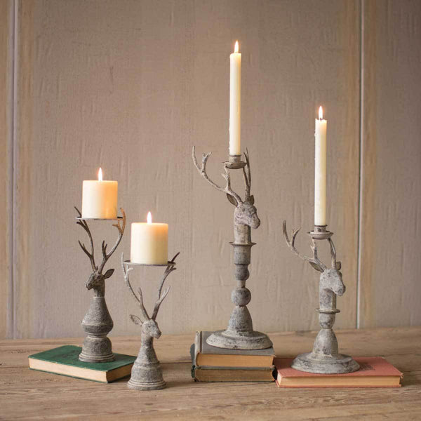 Set of 2 Deer Pillar Candle Holders - Upper Earth