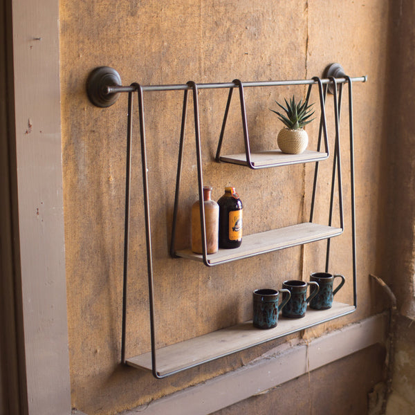 Wood & Metal Triple Hanging Shelf