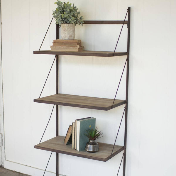 Metal & Wood Display Rack with Folding Shelves - Upper Earth