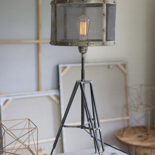 Industrial Tripod Desk Lamp with Wire Mesh Shade