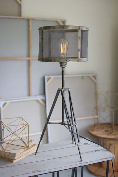 Industrial Tripod Desk Lamp with Wire Mesh Shade - Upper Earth
