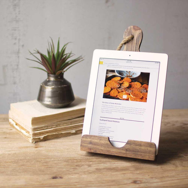 Wooden Cutting Board iPad Holder - Upper Earth