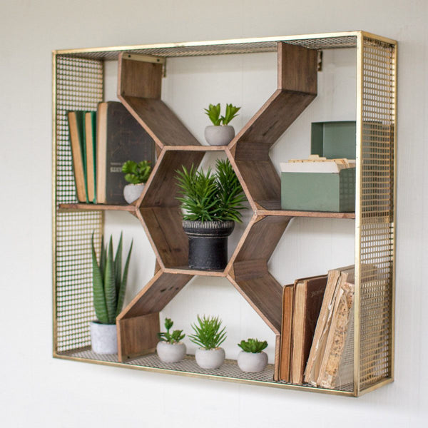 Honeycomb Wall Shelf with Mesh Brass Frame - Upper Earth