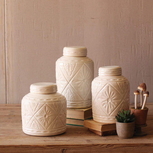 Ivory Ceramic Canisters with Geometric Design, Set of Three - Upper Earth