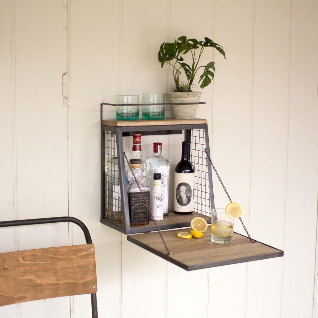 Liquor Cabinet with Fold Down Shelf - Upper Earth
