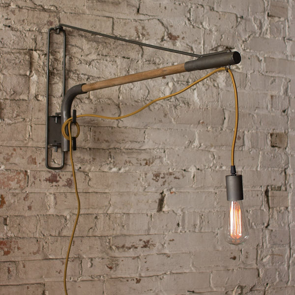 Industrial Swinging Light Fixture with Wrought Iron Pendant - Upper Earth