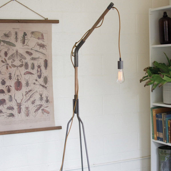 Wood and Iron Tripod Floor Lamp with Swinging Bulb