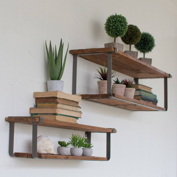 Recycled Wood and Metal Floating Shelves, Set of 2 - Upper Earth