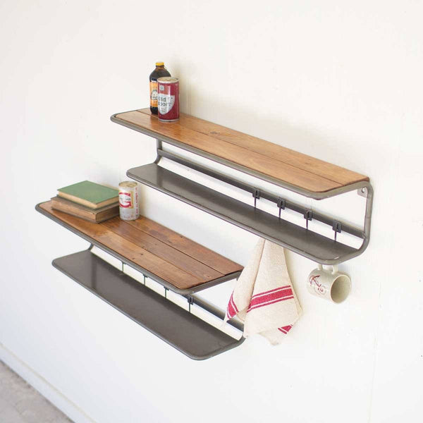 Set of 2 Wood & Metal Wall Shelves