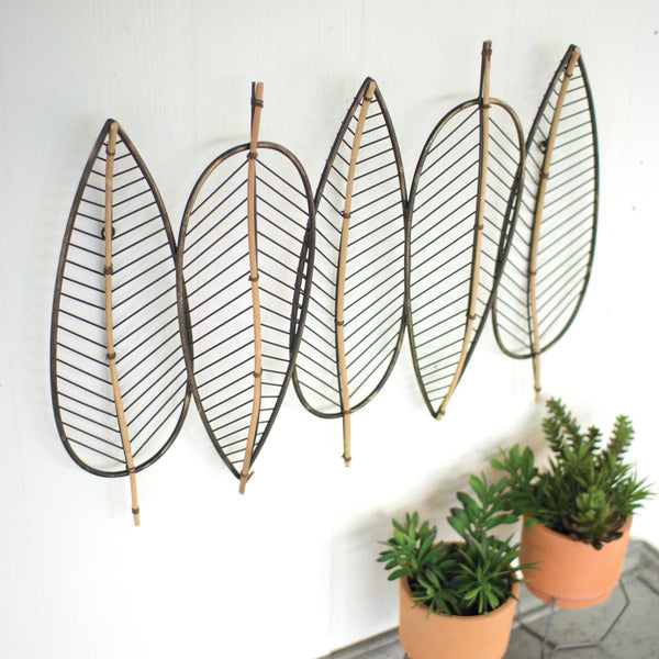 Five Leaf Metal & Bamboo Wall Decor