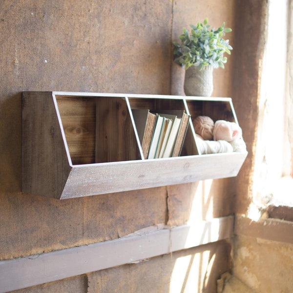 Three Compartment Wood Wall Shelf - Upper Earth