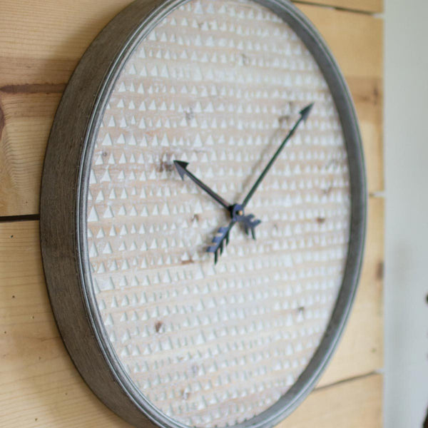 Round Wood with Metal Frame Wall Clock