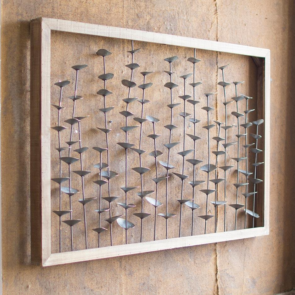 Wood Framed Metal Leaves Wall Hanging - Upper Earth