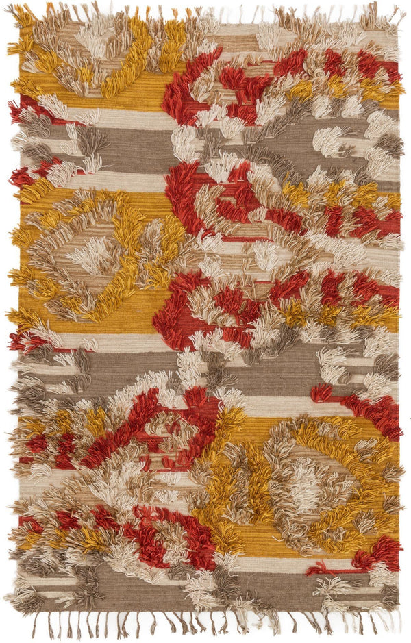 Yellow & Red Handwoven Viscose Area Rug - Fable - Upper Earth