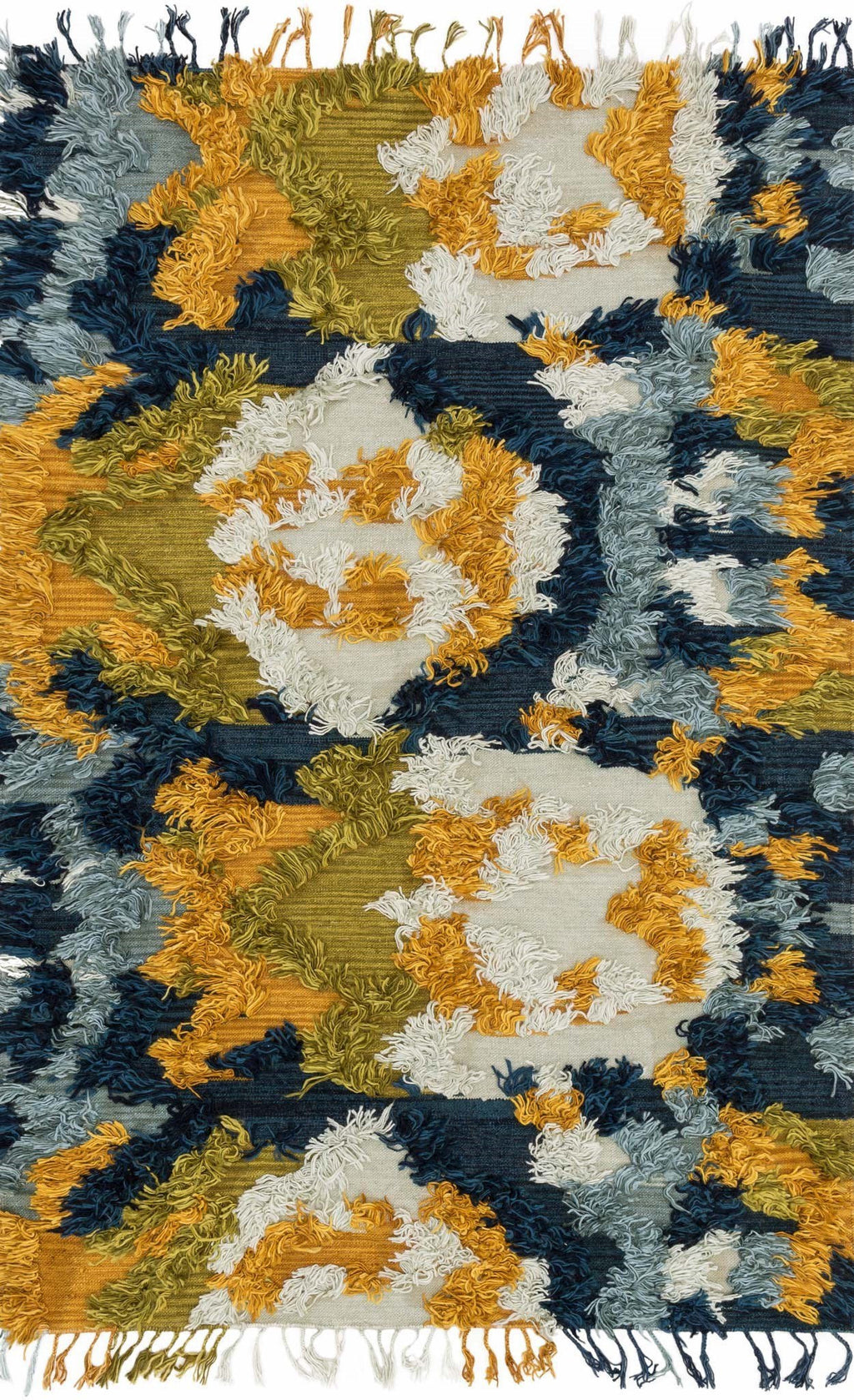 Blue & Gold Handwoven Viscose Area Rug - Fable - Upper Earth