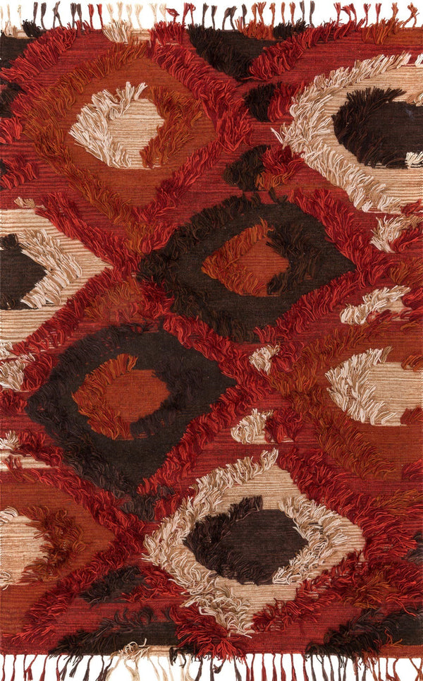 Red & Brown Handwoven Viscose Area Rug - Fable - Upper Earth