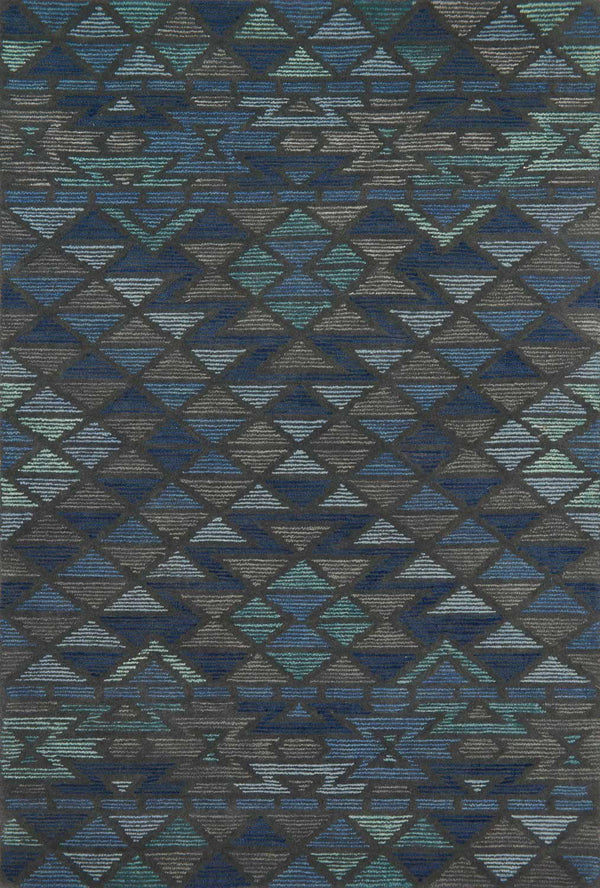 Blue & Grey Wool Area Rug - Gemology - Upper Earth