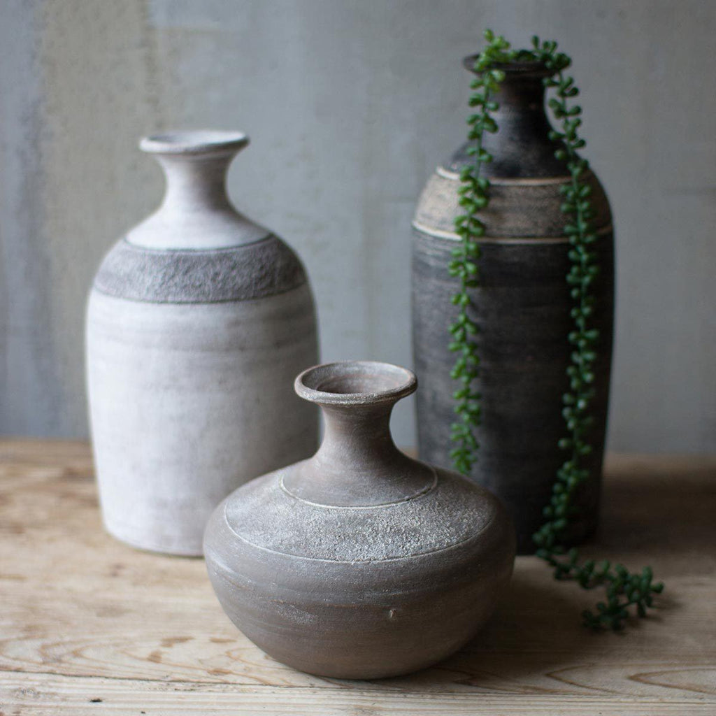 Set of 3 Black Grey & White Clay Vessels